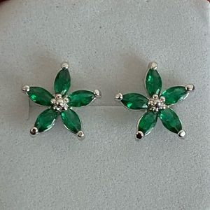 Emerald Marquise Flower Earrings Lab Created